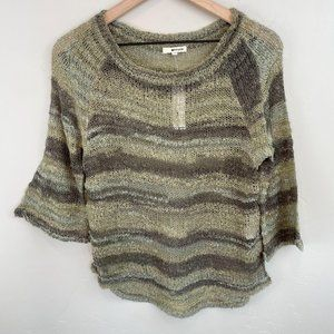 LA Made green stripe bell 3/4 sleeve pullover XS